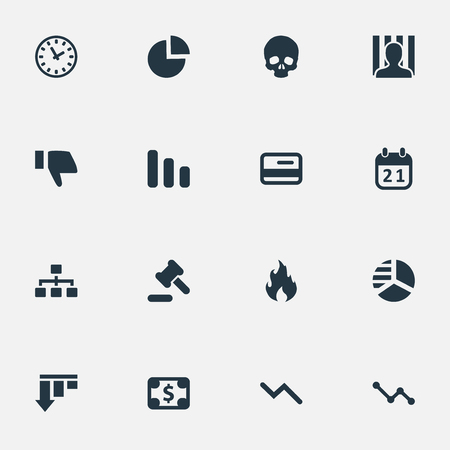 Vector Illustration Set Of Simple Trouble Icons. Elements Circular Diagram, Info Graph, Bar Graph And Other Synonyms Plastic, Circular And Jailer.