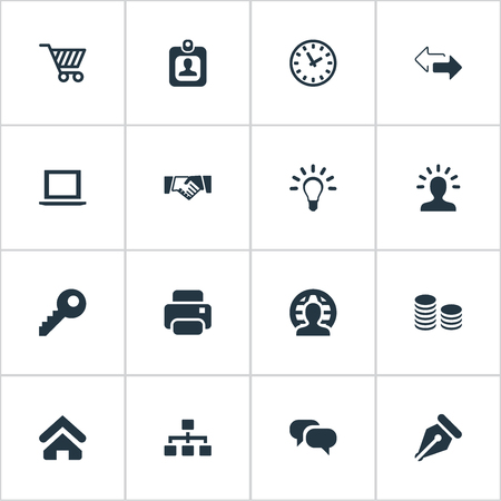 Vector Illustration Set Of Simple Commerce Icons. Elements Relationship, User, Bulb And Other Synonyms Pen, Left And Pin.