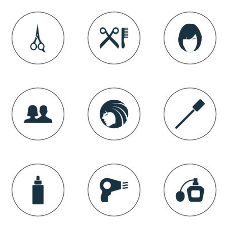 barbershop: Vector Illustration Set Of Simple Beauty Icons. Elements Customers, Beauty, Barbershop And Other Synonyms Salon, Perume And Scissors.