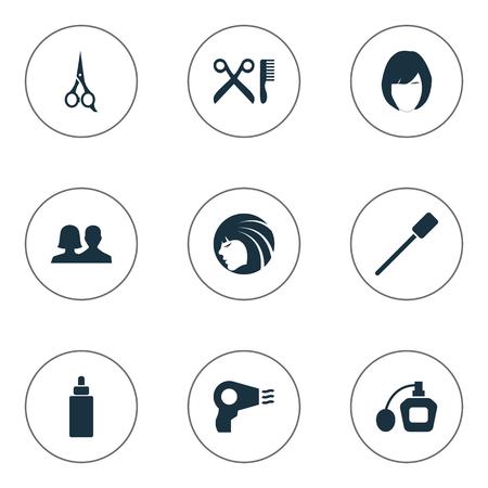 Vektor-Illustrations-Satz einfache Schönheits-Ikonen. Elements Kunden, Beauty, Friseursalon und andere Synonyme Salon, Perume und Schere. Standard-Bild - 75716227