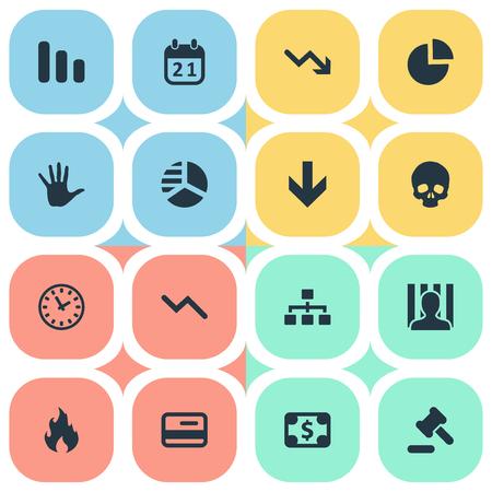 벡터 일러스트 레이 션 간단한 위기 아이콘의 집합입니다. 요소 원형 다이어그램, 라운드 그래프, 화재 및 기타 동의어 미리 알림, 해골 및 화재.