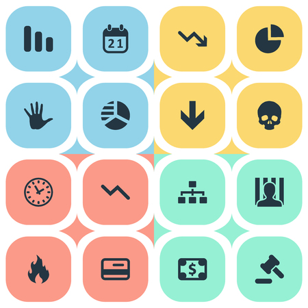 Vector Illustration Set Of Simple Crisis Icons. Elements Circular Diagram, Round Graph, Fire And Other Synonyms Reminder, Skull And Blaze.