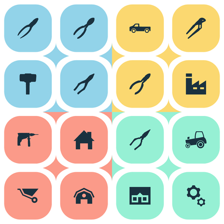 carried: Vector Illustration Set Of Simple Axe Icons. Elements House, Adjustable Wrench, Carpentry Equipment And Other Synonyms Trolley, Cart And Agriculture.
