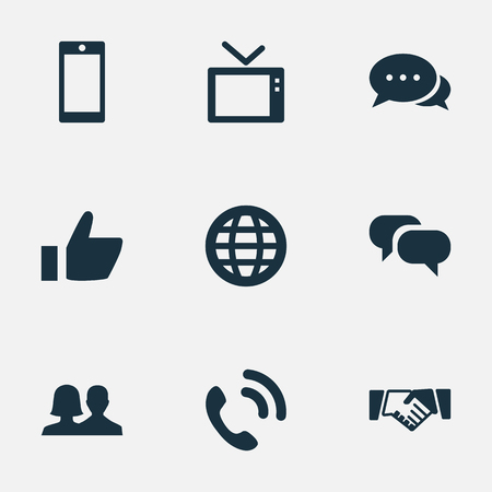 Vector Illustration Set Of Simple Transmission Icons. Elements Telly, Smartphone, Conversation And Other Synonyms World, Global And Television.