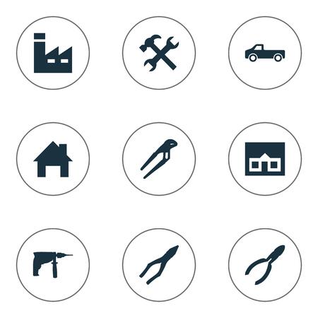 벡터 일러스트 레이 션 간단한 복구 아이콘의 집합입니다. 요소 조절 렌치, 클램핑 악기, 워크샵 및 기타 동의어 조정, 교통 및 렌치. 일러스트