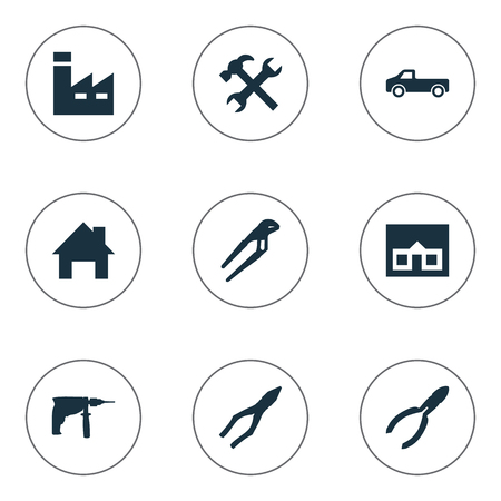 Vector Illustration Set Of Simple Repair Icons. Elements Adjustable Wrench, Clamping Instrument, Workshop And Other Synonyms Adjustable, Transportation And Wrench.