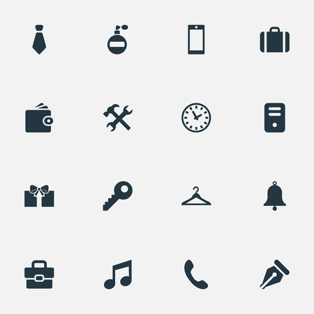 Vector Illustration Set Of Simple Accessories Icons. Elements Ring, Cravat, Music And Other Synonyms Clothes, Clock And Watch.