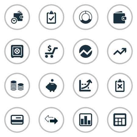 Vector Illustration Set Of Simple Investment Icons. Elements Circle Diagram, Spending, Credit Card And Other Synonyms Credit, Calculator And Analytics.