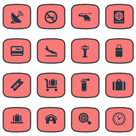 Vector Illustration Set Of Simple Travel Icons. Elements Baggage Cart, Protection Tool, Alighting Plane And Other Synonyms Copter, Protection And Alighting. Stock Vector - 75716245