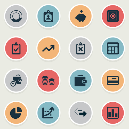 Vector Illustration Set Of Simple Finance Icons. Elements Authentication, Circle Diagram, Calculator And Other Synonyms Human, Percent And Saving.