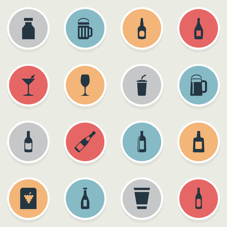 Vector Illustration Set Of Simple Drinks Icons. Elements Bottle, Martini, Ketchup And Other Synonyms Club, Cocktail And Wineglass.