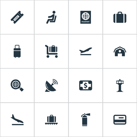 Vector Illustration Set Of Simple Transportation Icons. Elements Certificate Of Citizenship, Antenna, Credit Card And Other Synonyms Man, Cart And Bag.