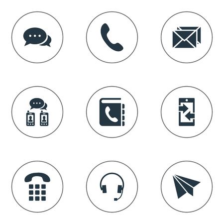 벡터 일러스트 레이 션 간단한 연결 아이콘의 집합입니다. 요소 전화 교환기, 게시, 항공기 및 기타 동의어 토크, 핸드셋 및 전화입니다.