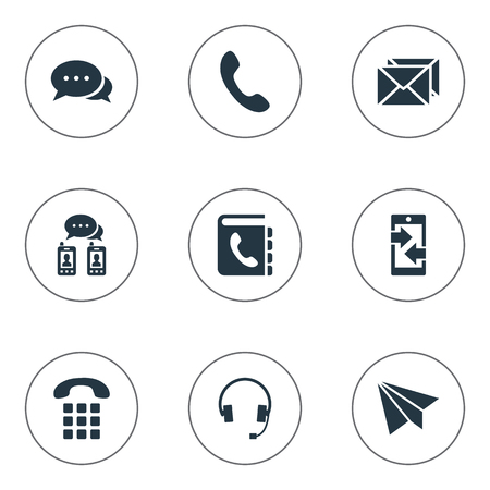 Vector Illustration Set Of Simple Connect Icons. Elements Telephone Switchboard, Posting, Aircraft And Other Synonyms Talk, Handset And Phone. Ilustração
