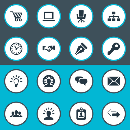 Vector Illustration Set Of Simple Business Icons. Elements Member, Chatting, Work Seat And Other Synonyms Ink, Right And Badge.