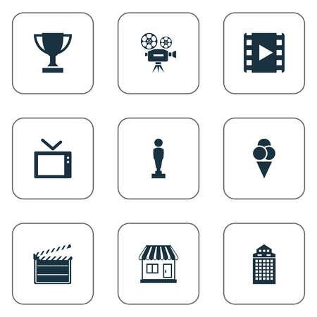 Vector Illustration Set Of Simple Cinema Icons. Elements Reel, Television, Structure And Other Synonyms Reward, Decoration And Cream.