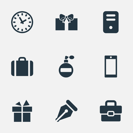 Vector Illustration Set Of Simple Accessories Icons. Elements Mobile Phone, Gift, Time And Other Synonyms Nib, Bag And Pen.