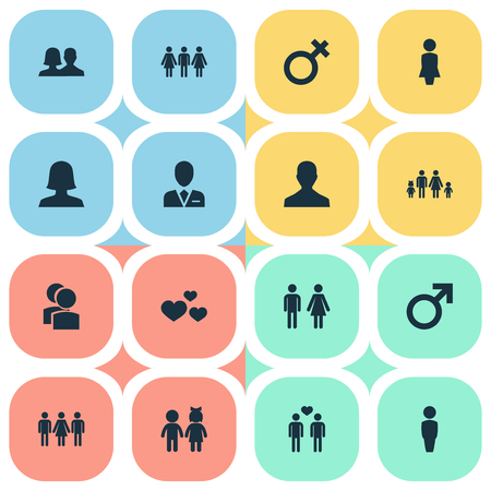 Vector Illustration Set Of Simple  Icons. Elements Madame, Lineage, Woman And Other Synonyms Homosexual, Children And Beloveds. Ilustração
