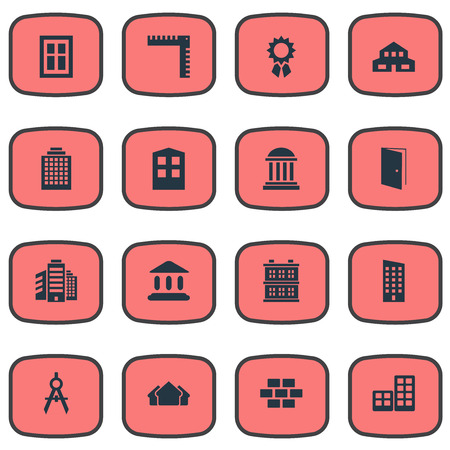 Vector Illustration Set Of Simple Architecture Icons. Elements Shelter, Engineer Tool, Flat And Other Synonyms Downtown, Superstructure And Offices. Illustration