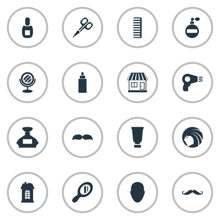 Vector Illustration Set Of Simple Barber Icons. Elements Peeper, Cut Tool, Whiskers And Other Synonyms Reflector, Hackle And Odor.