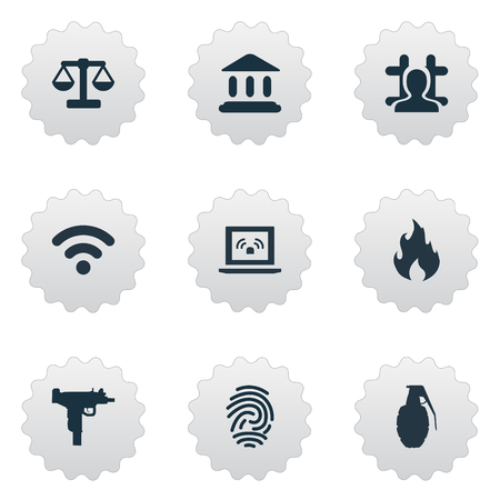 Vector Illustration Set Of Simple Police Icons. Elements Judicial House, Grid, Blaze And Other Synonyms Justice, Internet And Gun.
