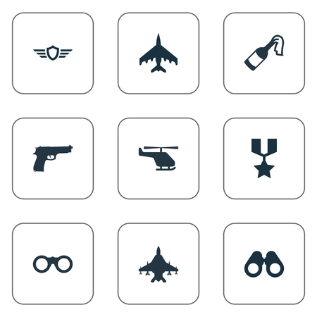 Vector Illustration Set Of Simple Terror Icons. Elements Telescope, Hero Reward, Field Glasses And Other Synonyms Fighter, Shield And Military.