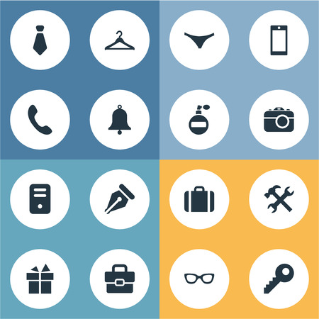 Vector Illustration Set Of Simple  Icons. Elements Present, Mobile Phone, Eyeglasses And Other Synonyms Key, Bag And Perfume.