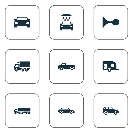 Vector Illustration Set Of Simple Transport Icons. Elements Haulage, Vehicle, Klaxon And Other Synonyms Delivery, Transport And Hatchback.