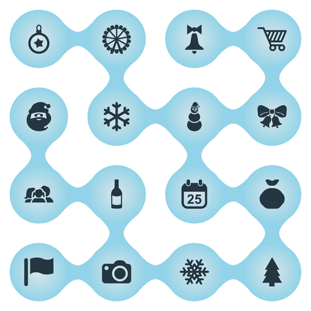 Vector Illustration Set Of Simple Celebration Icons. Elements Snow, Basket, Relatives And Other Synonyms Snowflake, Sack And Shopping.