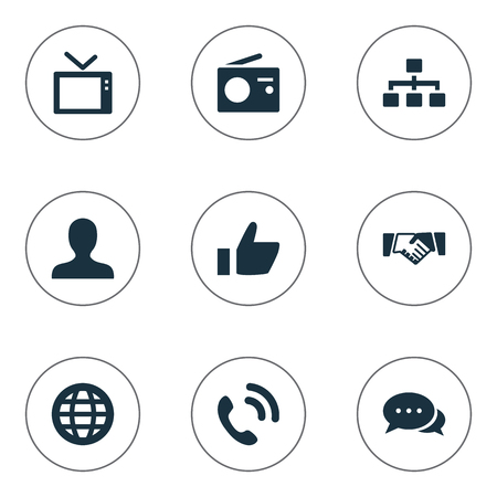 Vector Illustration Set Of Simple Network Icons. Elements Thumb, Talking, Walkie And Other Synonyms Deal, Talking And Global.