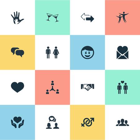 Ilustración vectorial Conjunto de iconos de compañeros simples. Elementos chismes, útil, amistad y otros sinónimos Discrepancia, flechas y bebidas. Foto de archivo - 75716290