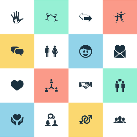 Vector Illustration Set Of Simple Mates Icons. Elements Gossip, Helpful, Friendship And Other Synonyms Discrepancy, Arrows And Beverage. 向量圖像