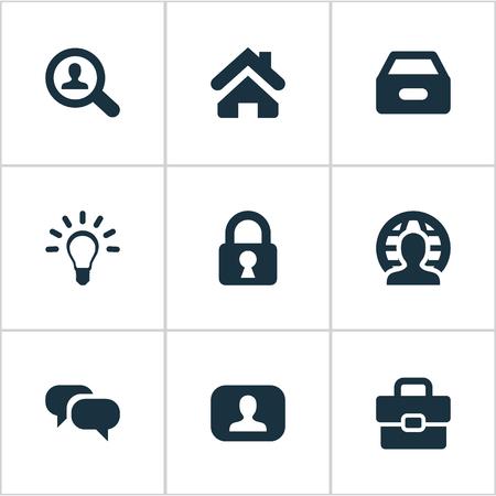 Vector Illustration Set d'icônes de commerce simple. Lampe d'éléments, cadenas, valise et autres synonymes Secret, la Terre et la recherche. Banque d'images - 75716291