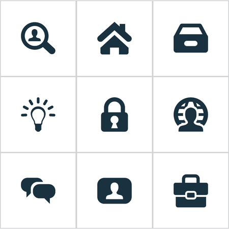 Vector Illustration Set Of Simple Trade Icons. Elements Lamp, Padlock, Suitcase And Other Synonyms Secret, Earth And Search. Çizim