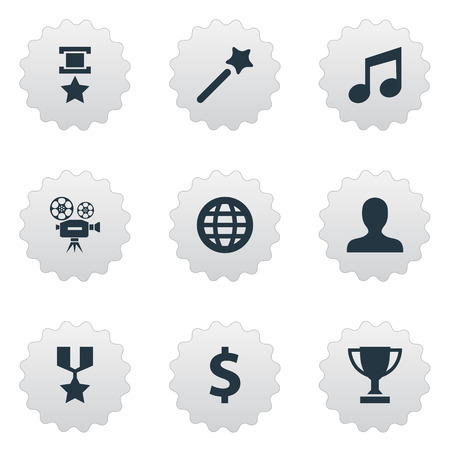 Vector Illustration Set Of Simple Champion Icons. Elements World, Cinema, Triumphant And Other Synonyms Melody, Trophy And Cup.