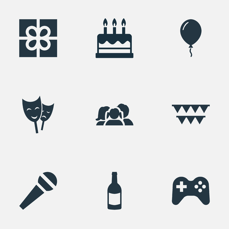 Vector Illustration Set Of Simple Celebration Icons. Elements Domestic, Game, Speech And Other Synonyms Cake, Aerostat And Actor.
