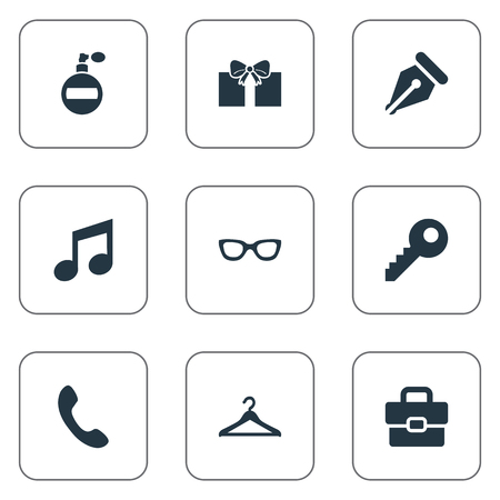 Vector Illustration Set Of Simple Instrument Icons. Elements Fragrance, Eyeglasses, Ink Pencil And Other Synonyms Ink, Keyhole And Call.