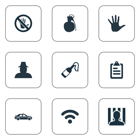 Vector Illustration Set Of Simple Offense Icons. Elements Internet, Touch Forbidden, Volunteer And Other Synonyms Police, Arm And Cocktail. Illustration