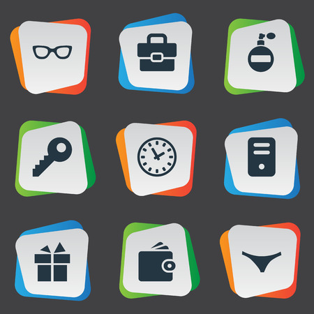 Vector Illustration Set Of Simple  Icons. Elements Eyeglasses, System Unit, Password And Other Synonyms Fragrance, Password And Deodorant.