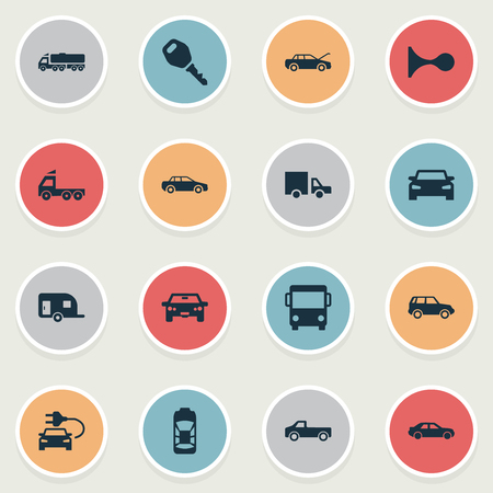 Vector Illustration Set Of Simple Automobile Icons. Elements Klaxon, Key, Camion And Other Synonyms Van, Klaxon And Mega. Illustration