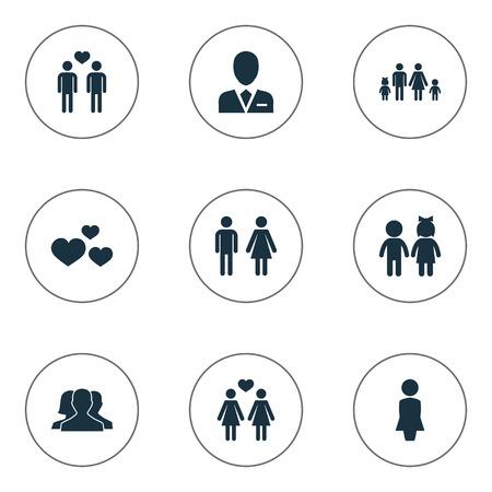 Vector Illustration Set Of Simple Beloved Icons. Elements Children, Dissolve The Marriage, Heart And Other Synonyms Double, Barrister And Family.