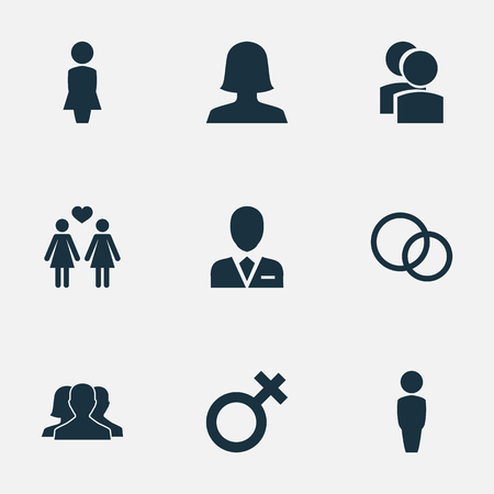 Vector Illustration Set Of Simple Couple Icons. Elements Madame, Spouse, Friends And Other Synonyms Partners, Divorce And Lady.