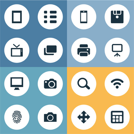 Vector Illustration Set Of Simple Device Icons. Elements Touch Computer, Save, Fingerprint And Other Synonyms Search, Tablet And Display.