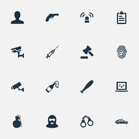 Vector Illustration Set Of Simple Fault Icons. Elements Checklist, Lock, Thief And Other Synonyms Judicial, Tribunal And Hammer.