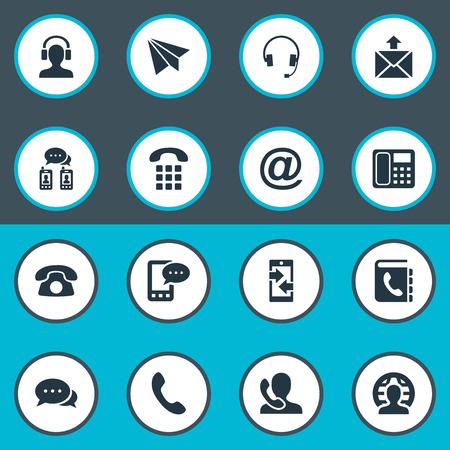 벡터 일러스트 레이 션 간단한 통신 아이콘의 집합입니다. 요소 전화, 이어폰, 전화 번호부 및 기타 동의어 우편, 이어폰 및 전화.