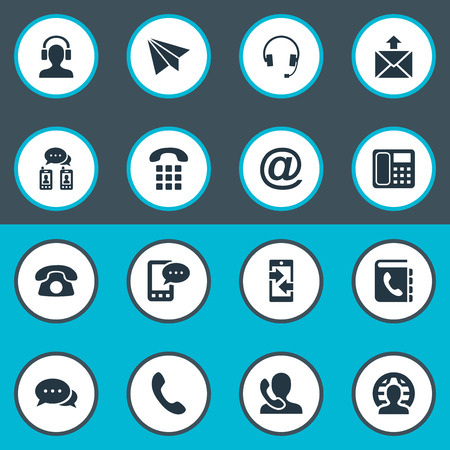 earpiece: Vector Illustration Set Of Simple Communication Icons. Elements Telephone, Earpiece, Telephone Directory And Other Synonyms Mailing, Earphone And Phone.