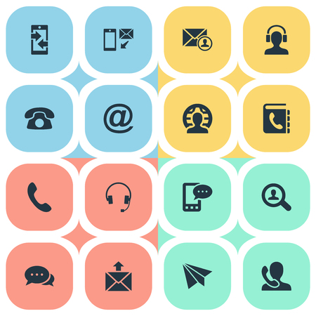 Vector Illustration Set Of Simple Connect Icons. Elements E-Mail Symbol, Earphone, Telephone And Other Synonyms Chat, Postal And Letter. Ilustrace