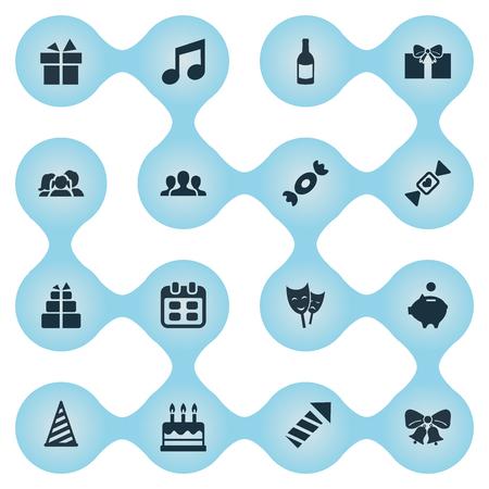 Vector Illustration Set d'icônes de vacances simples. Éléments de boisson, masque, domestique et autres synonymes Fizz, théâtre et cadeau. Banque d'images - 75716324