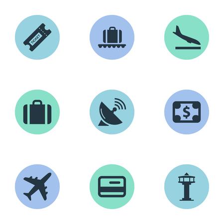 벡터 일러스트 레이 션 간단한 비행기 아이콘의 집합입니다. 요소 비행 제어 타워, 수하물 회전 목마, 안테나 및 기타 동의어 하강, 비행기 및 비행기.