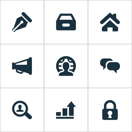 Vector Illustration Set Of Simple Trade Icons. Elements Progress, Nib, Padlock And Other Synonyms Protected, Global And Seek.